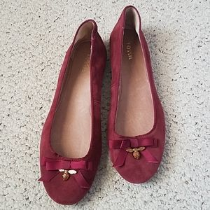 Fossil bee charm ox blood leather flats sz8 NEW
